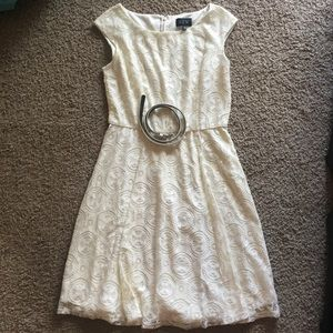 Cream lace tea dress